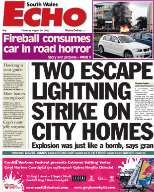 Two escape lightning strike on city homes - South Wales Echo