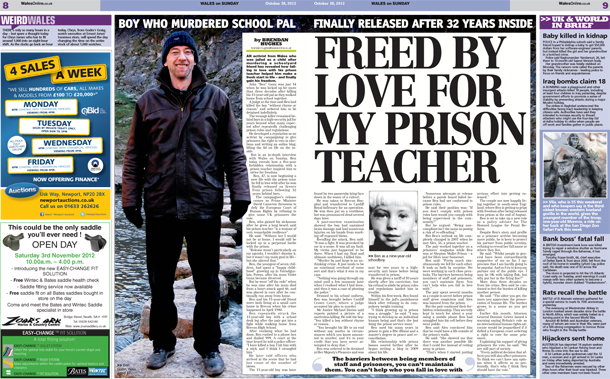 Freed by love for my prison teacher - Wales on Sunday